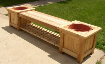 Custom Bench with Planters, lattice. Rochester, MN