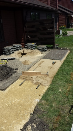 Process of creating paver patio. SE Rochester, MN 2013